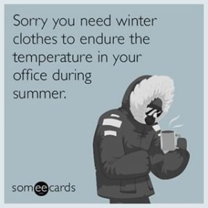 Winter clothes in office meme
